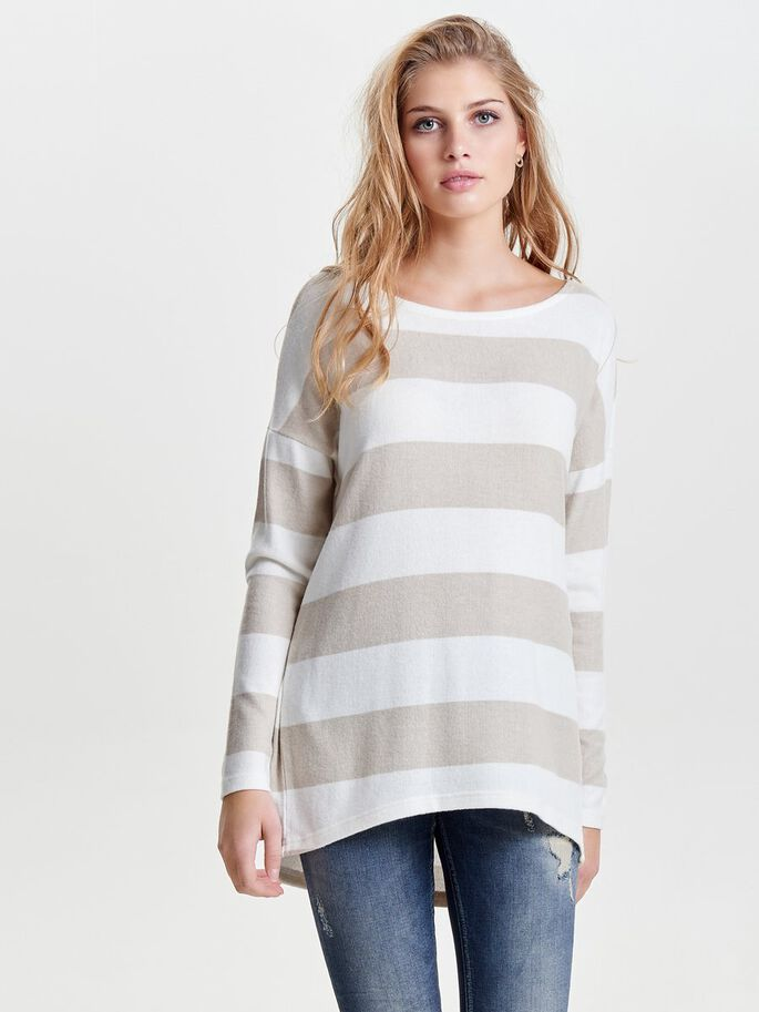 STRIPED KNITTED PULLOVER, Hazelnut, large