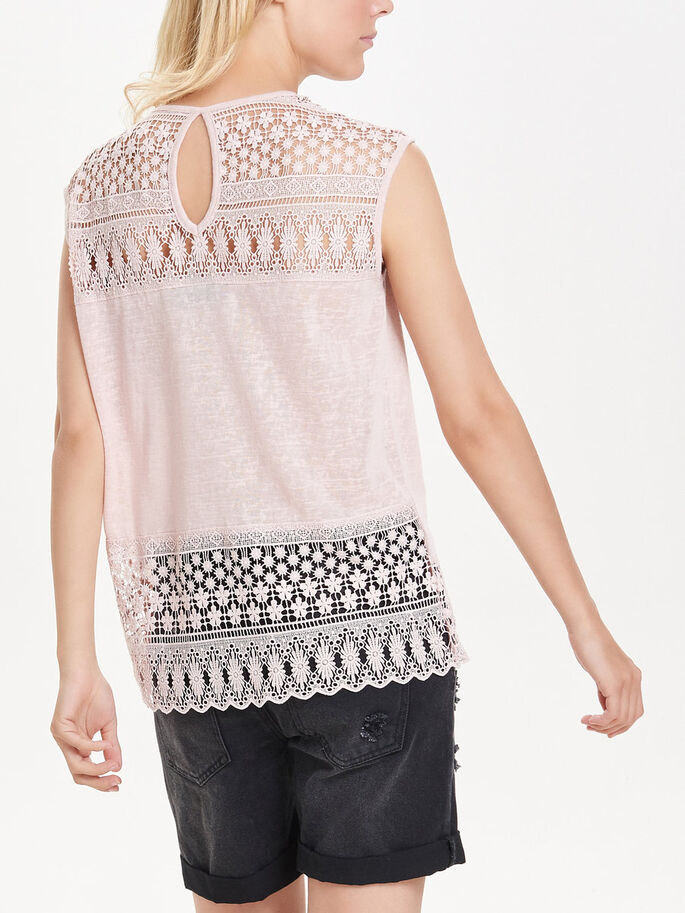 LACE SLEEVELESS TOP, Peach Whip, large