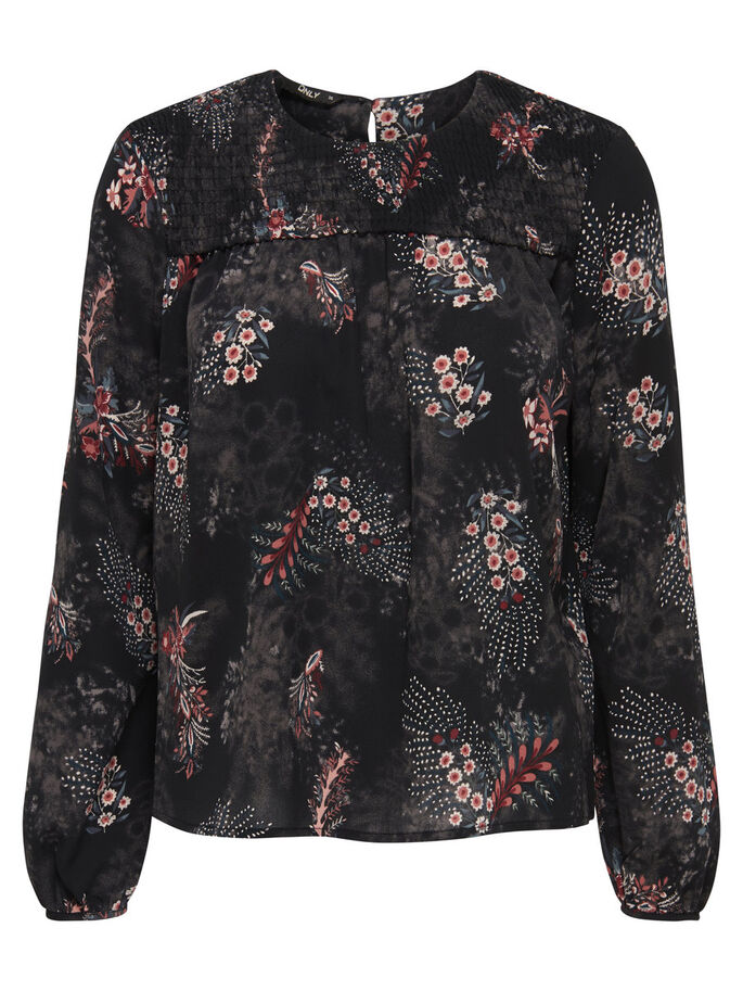 PRINT TOP MET LANGE MOUWEN, Black, large