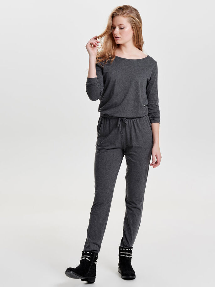 LONG SLEEVED JUMPSUIT, Dark Grey Melange, large