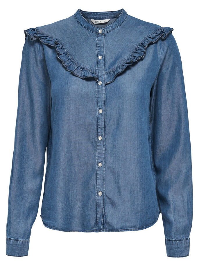 LANGE MOUW OVERHEMD, Light Blue Denim, large