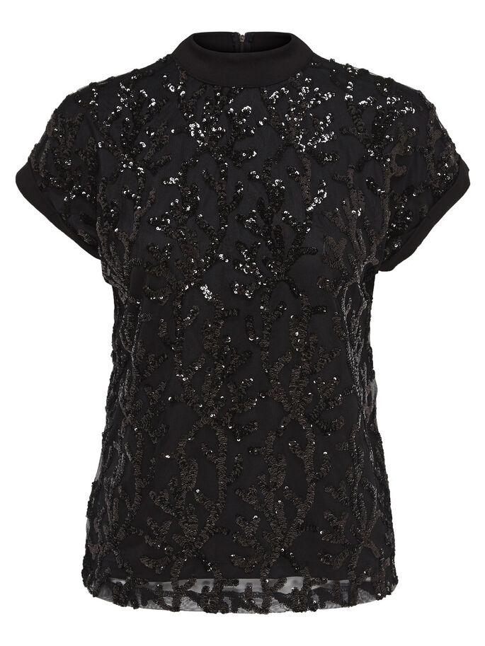 SEQUINS TOP À MANCHES COURTES, Black, large