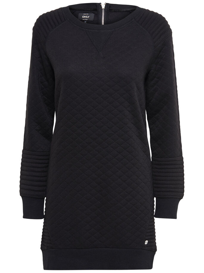 PRINTED SWEAT DRESS, Black, large