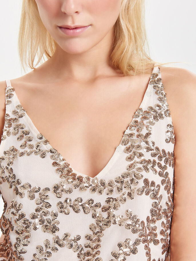 SEQUINS SLEEVELESS TOP, Macadamia, large