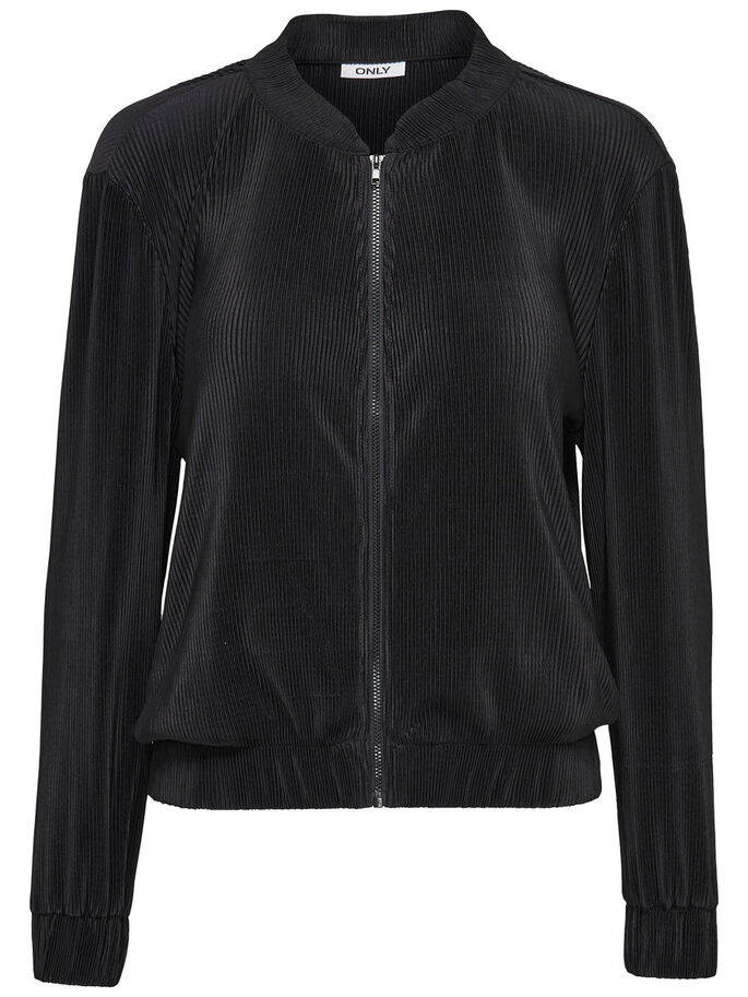 PLEATED BOMBER JACKET, Black, large