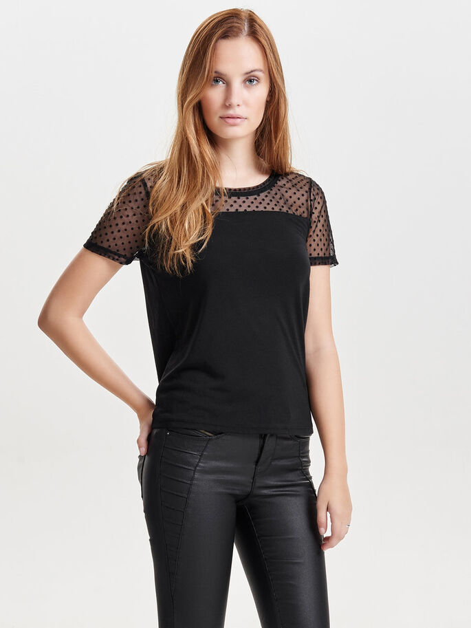 MIX SHORT SLEEVED TOP, Black, large