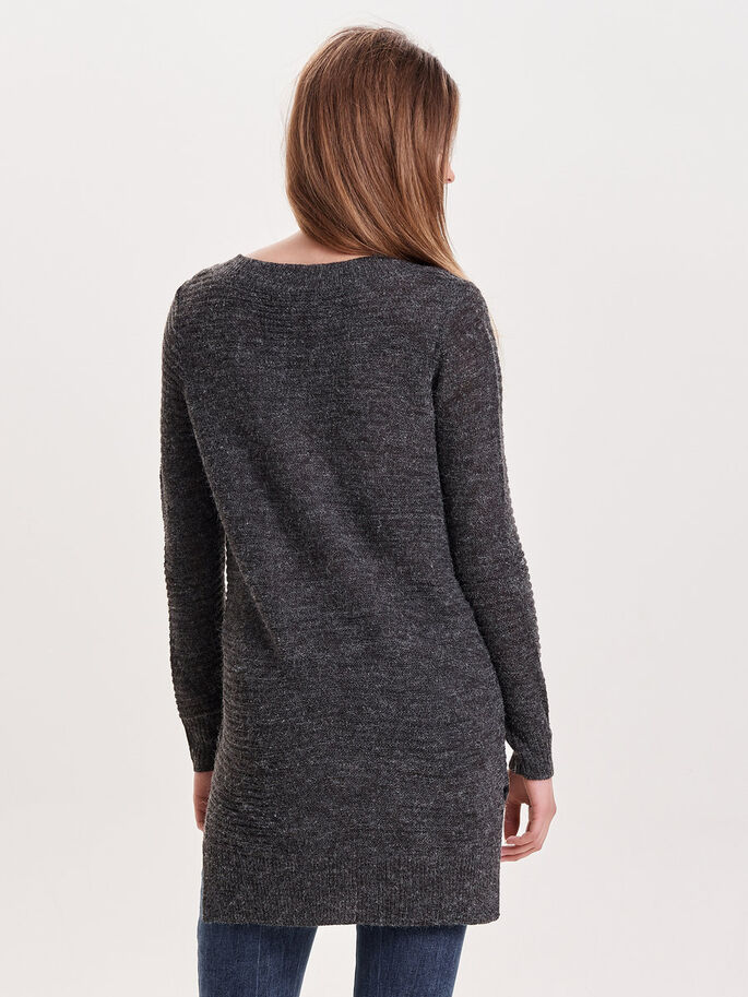 LONG KNITTED PULLOVER, Dark Grey Melange, large