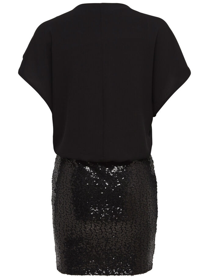 SEQUINS SHORT DRESS, Black, large