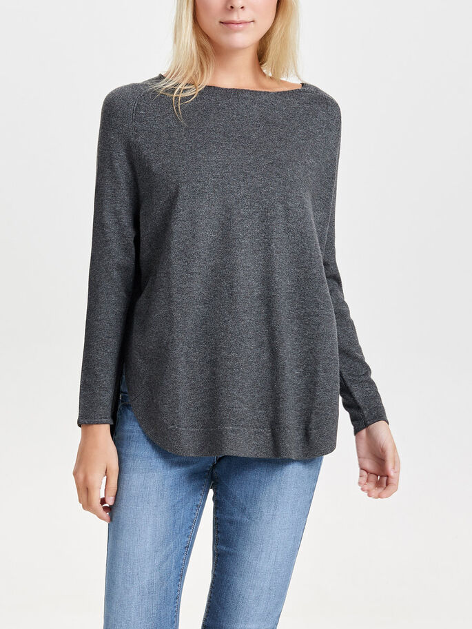 OVERSIZE- STRICKPULLOVER, Dark Grey Melange, large