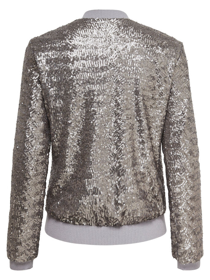 SEQUINS BOMBER JACKET, Silver, large