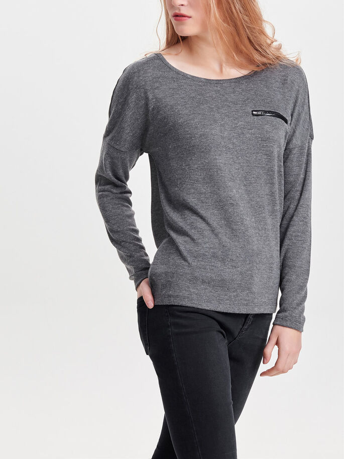 DETAILED KNITTED PULLOVER, Dark Grey Melange, large