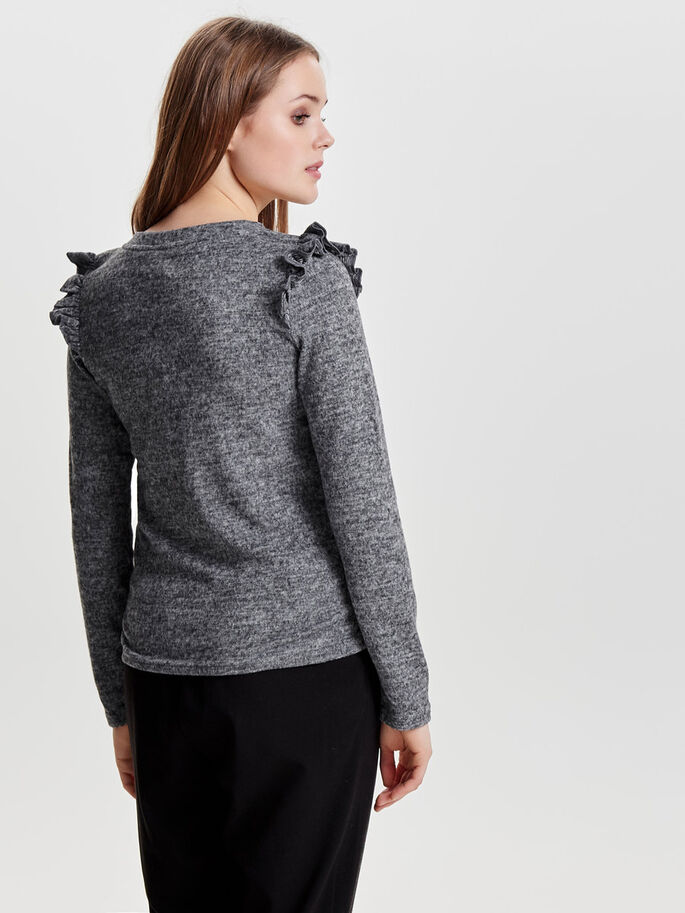 RÜSCHEN- STRICKPULLOVER, Dark Grey Melange, large