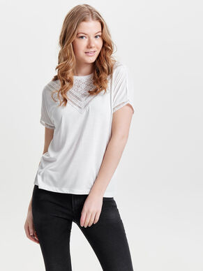 LACE DETAIL SHORT SLEEVED TOP