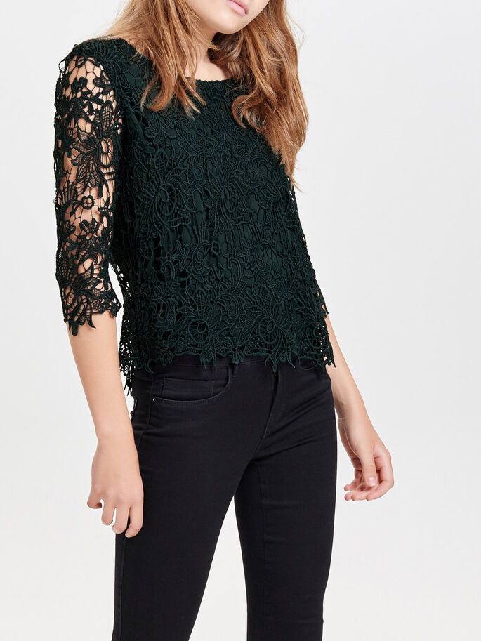 CROCHET 3/4 SLEEVED TOP, Scarab, large