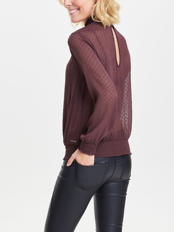 HIGH NECK LONG SLEEVED TOP, Fudge, large