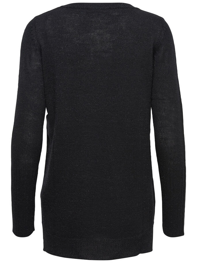LONG KNITTED PULLOVER, Black, large