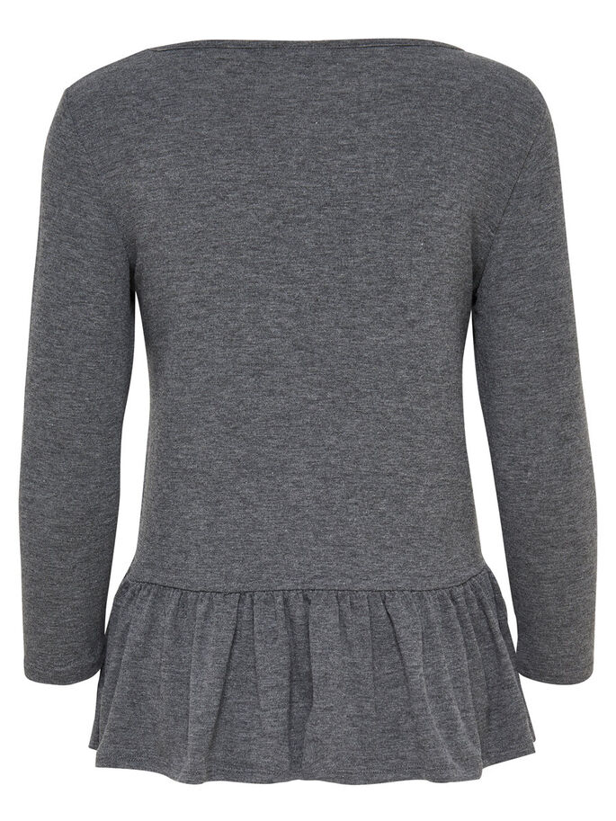 PEPLUM 3/4 SLEEVED TOP, Dark Grey Melange, large