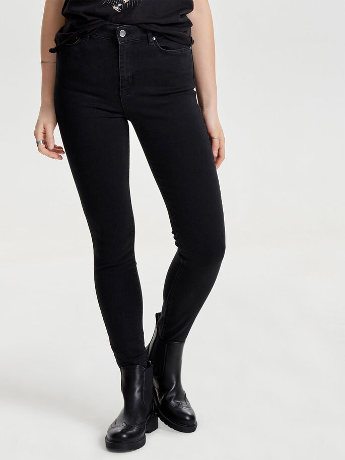 STUDIO1 HÖGA SKINNY FIT-JEANS, Black Denim, large
