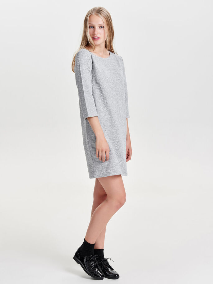 3/4 SLEEVED SWEAT DRESS, Light Grey Melange, large