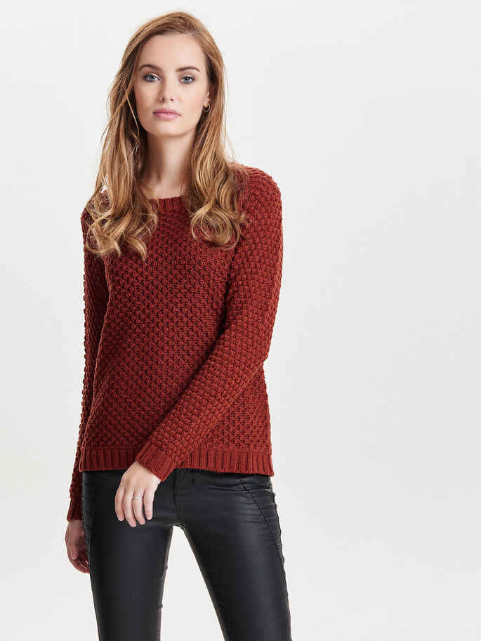 LONG KNITTED PULLOVER, Fired Brick, large