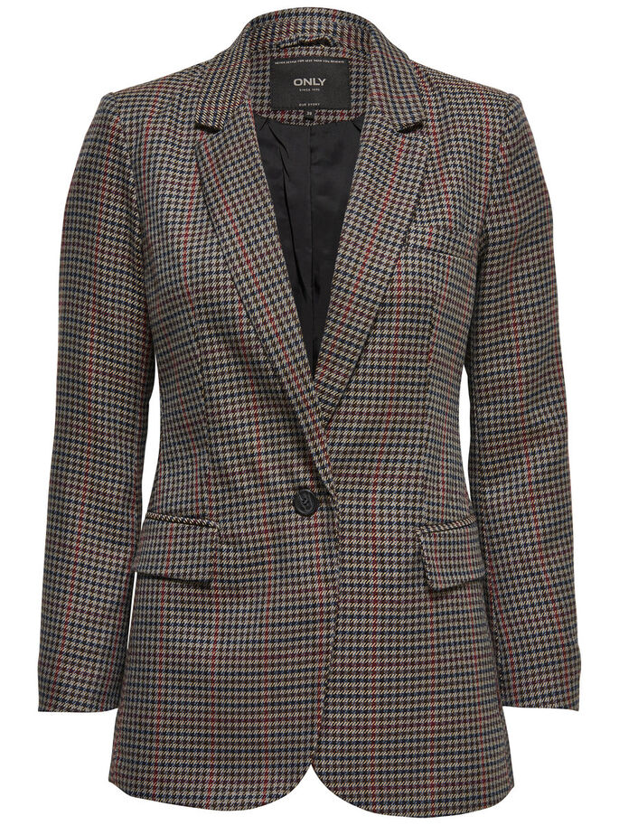 CHECKED BLAZER, Dark Grey Melange, large