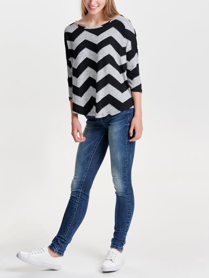 ZIGZAG TOP MED 3/4-ÆRMER, Light Grey Melange, large