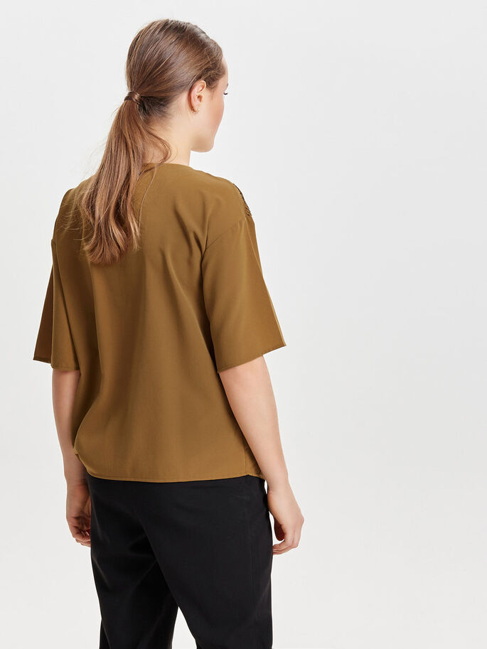 PAILLETTEN SHIRT MET 2/4 MOUWEN, Bronze Brown, large