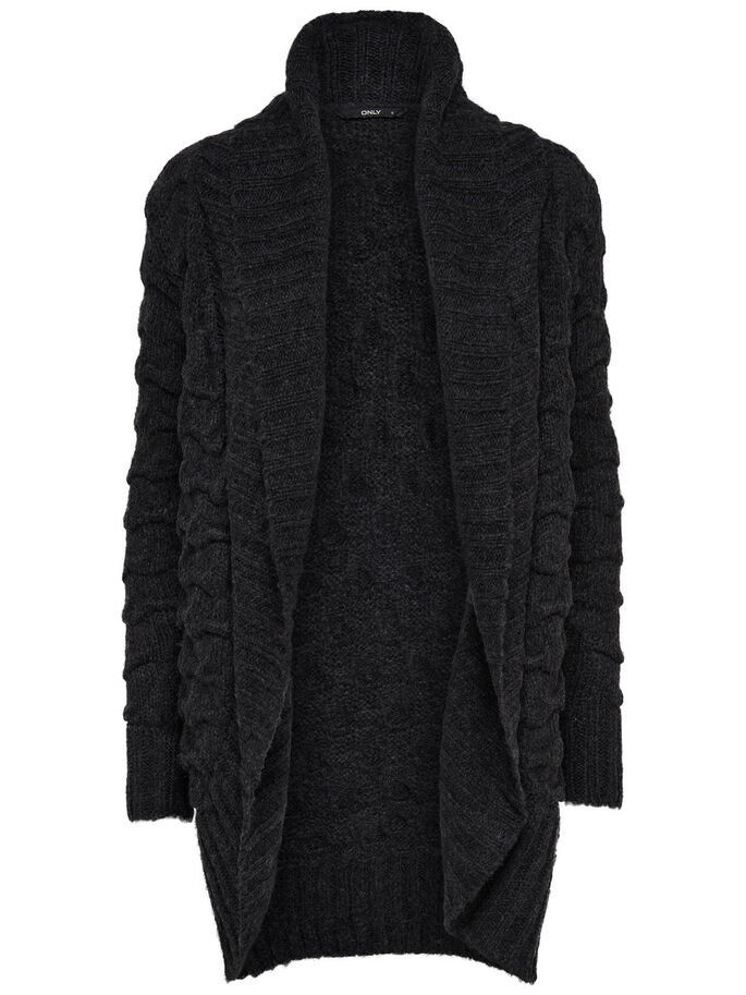 LONG KNITTED CARDIGAN, Black, large