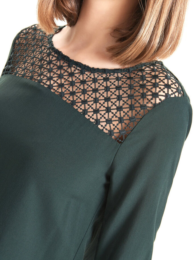 LACE DETAIL 3/4 SLEEVED TOP, Jet Set, large