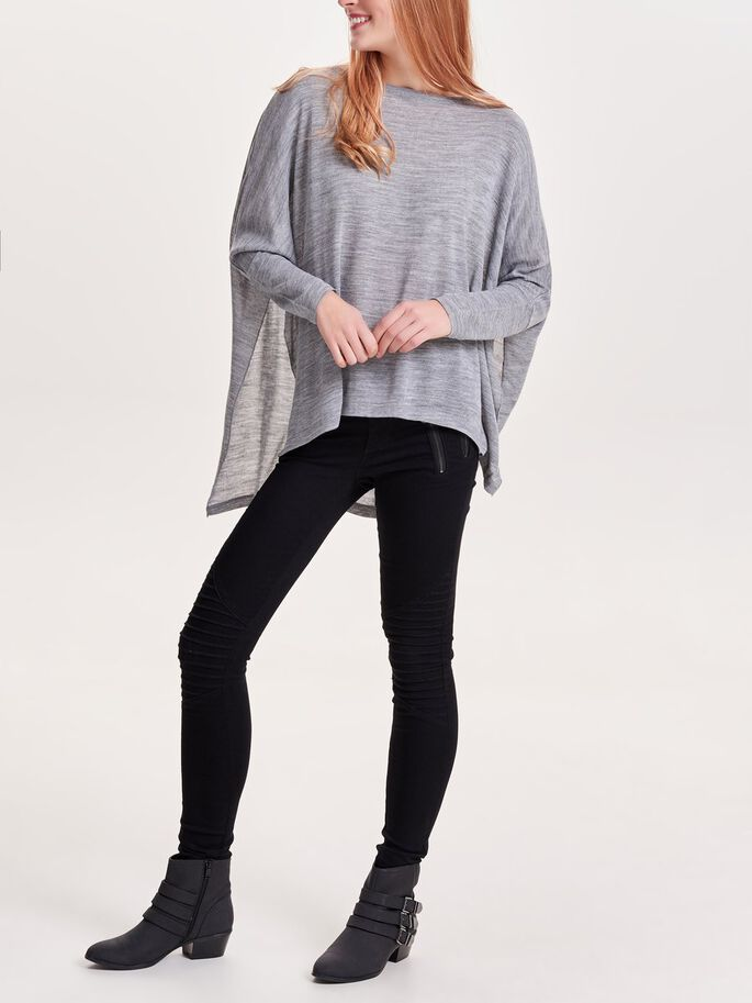 LOOSE FIT TOPP MED 3/4-ÄRMAR, Light Grey Melange, large