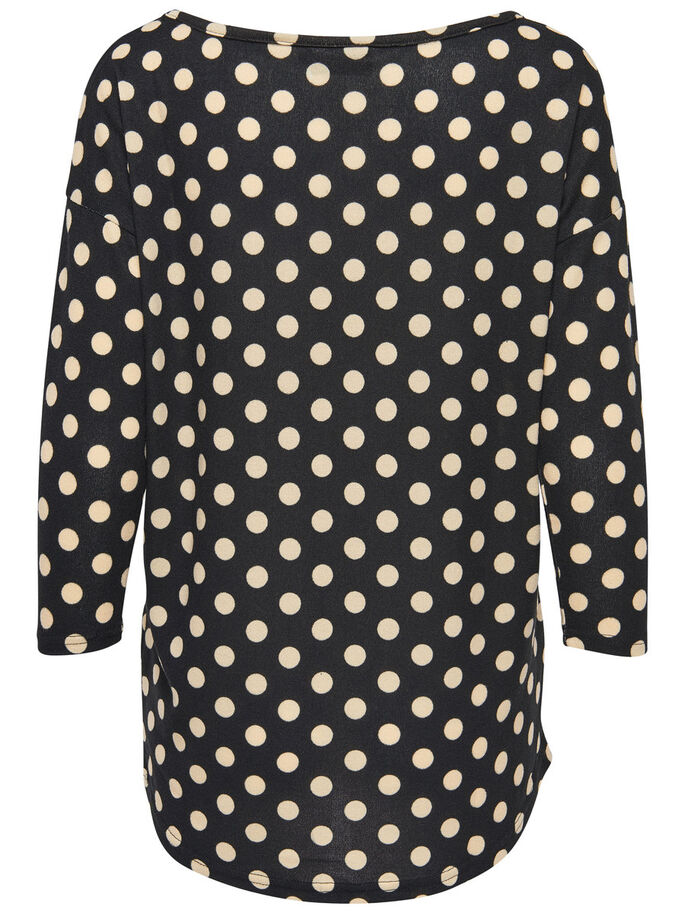 LOOSE PRINTED LONG SLEEVED TOP, Black, large