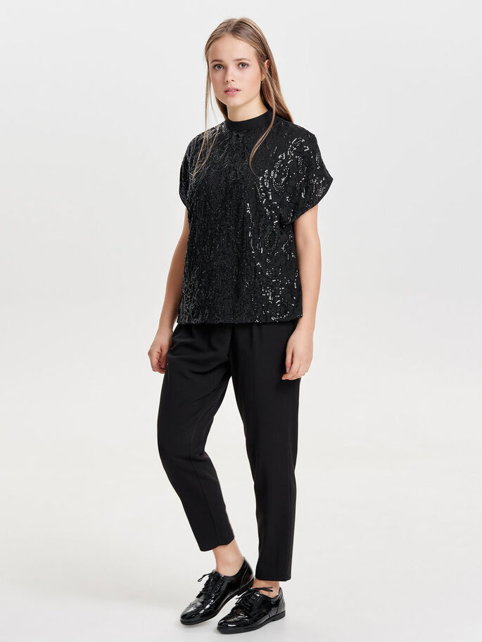 SEQUINS SHORT SLEEVED TOP, Black, large