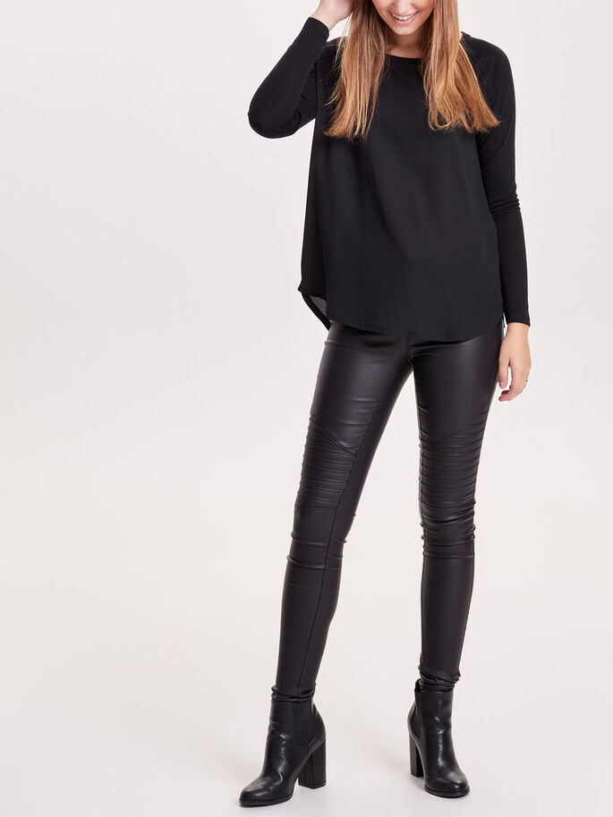 MIX LONG SLEEVED TOP, Black, large