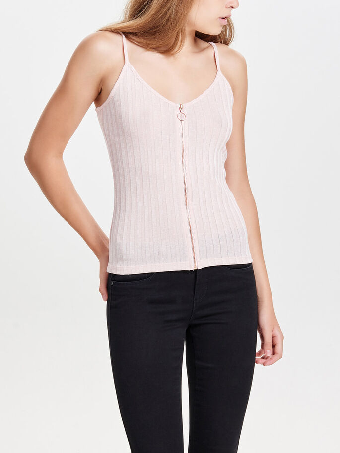 ZIP SLEEVELESS TOP, Rose Smoke, large
