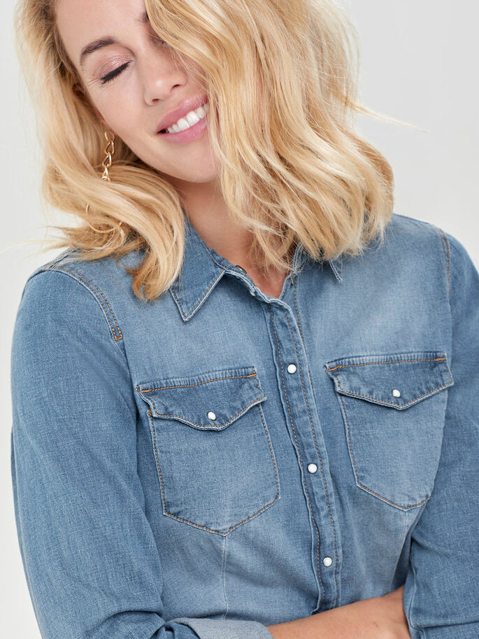 FITTED DENIM SHIRT, Light Blue Denim, large
