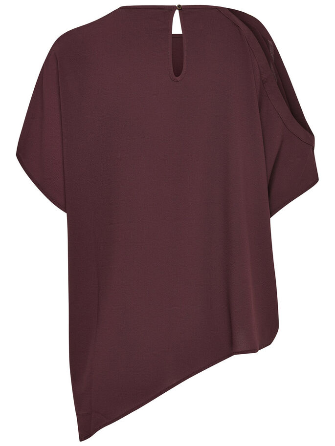 ASYMMETRIC SHORT SLEEVED TOP, Fudge, large