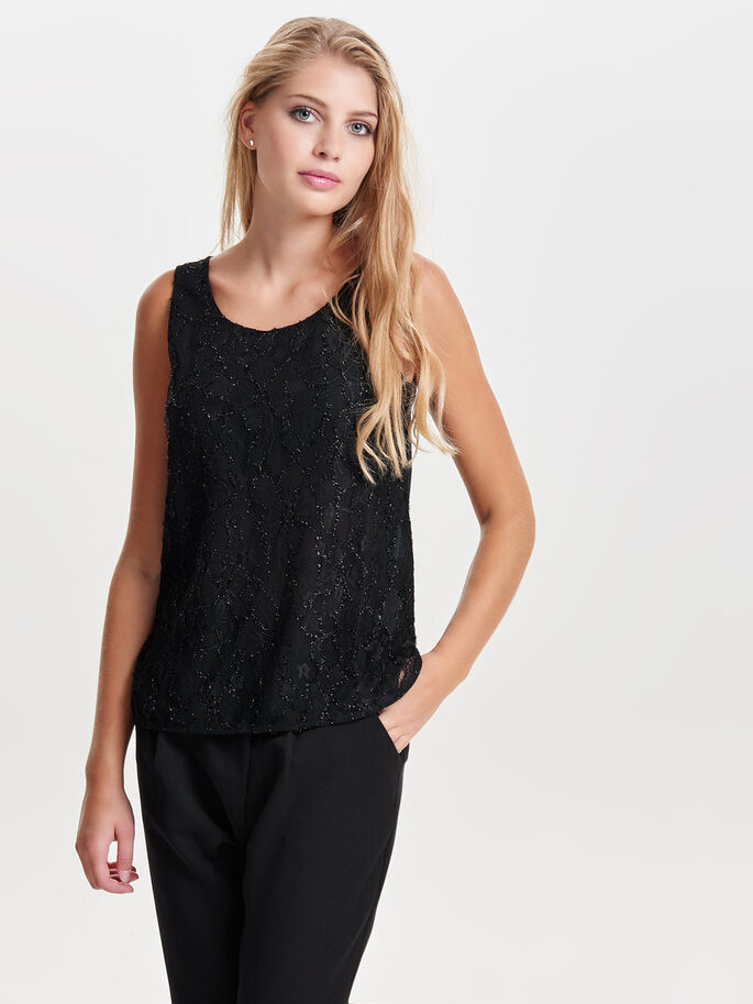 SEQUINS SLEEVELESS TOP, Black, large