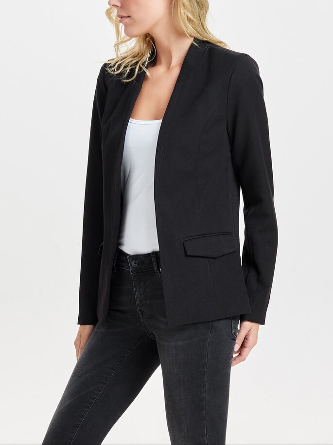 SOLID BLAZER, Black, large