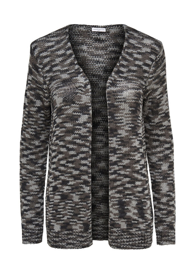 LANGÆRMET STRIKKET CARDIGAN, Black, large