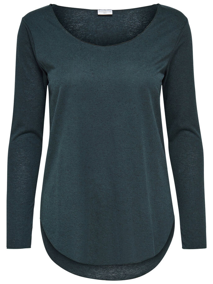 SOLID LONG SLEEVED TOP, Scarab, large