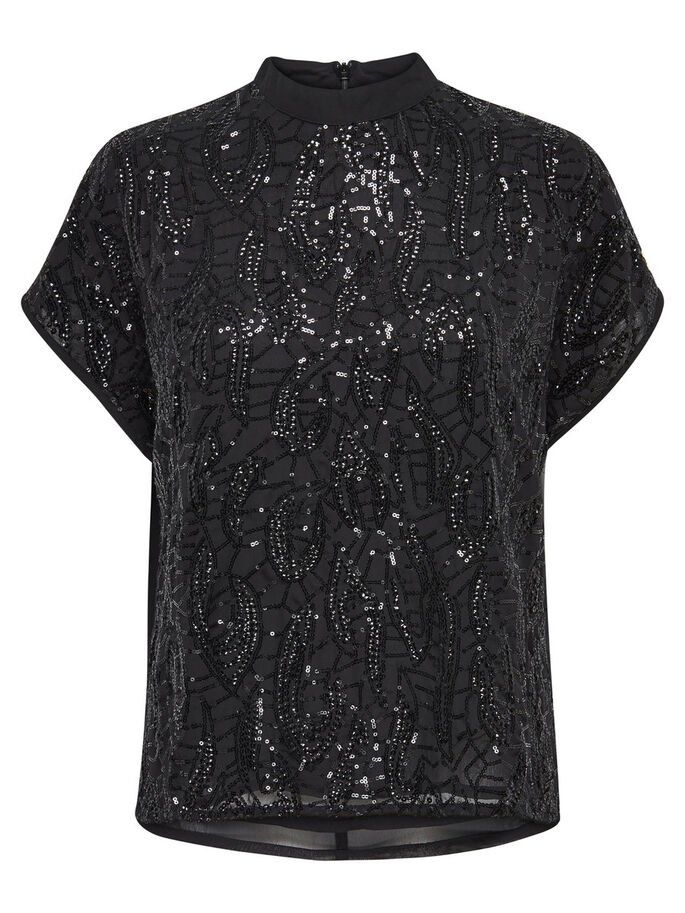 PAILLETTES TOP À MANCHES COURTES, Black, large