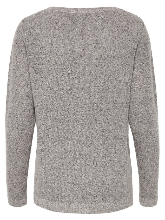 HJERTE STRIKKET PULLOVER, Light Grey Melange, large