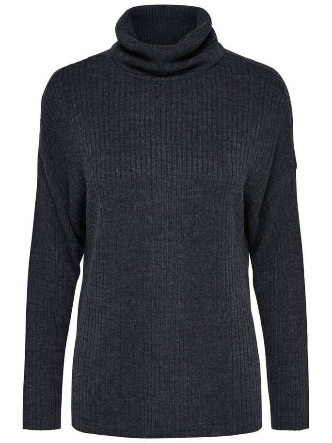HIGH NECK KNITTED PULLOVER, Dark Grey Melange, large