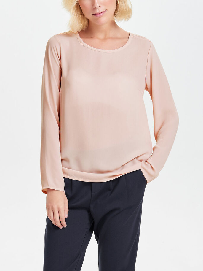 KANTEN TOP MET LANGE MOUWEN, Rose Smoke, large