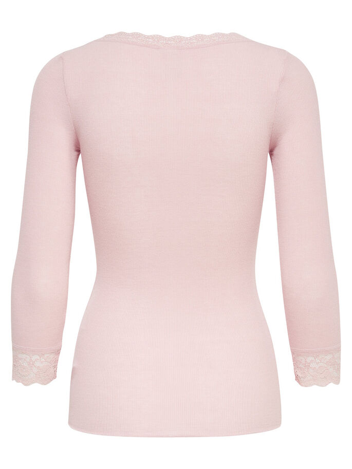 LACE 3/4 SLEEVED TOP, Pale Mauve, large
