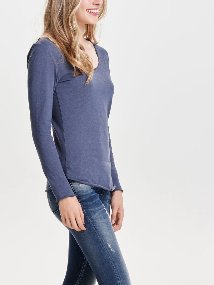 BASIC LONG SLEEVED TOP, Ombre Blue, large