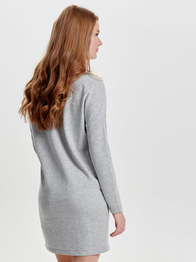 SWEAT- KLEID MIT LANGEN ÄRMELN, Medium Grey Melange, large