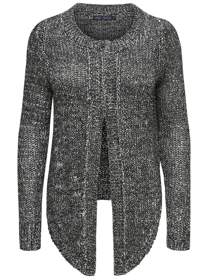 REISSVERSCHLUSS- STRICK-CARDIGAN, Black, large