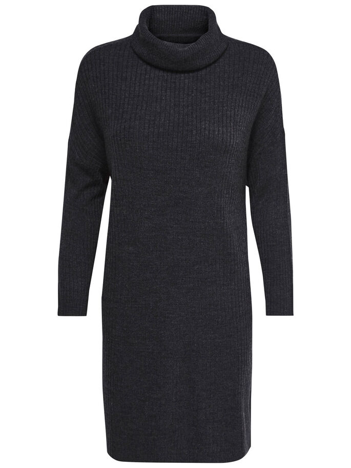 HIGH NECK KNITTED DRESS, Dark Grey Melange, large