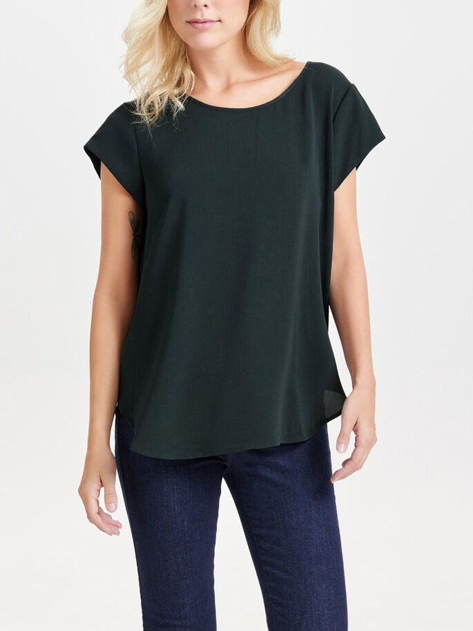 SOLID SHORT SLEEVED TOP, Jet Set, large